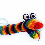 Куклы и игрушки ручной работы. Ярмарка Мастеров - ручная работа Змея ручная. Вязаная игрушка на руку.. Handmade.