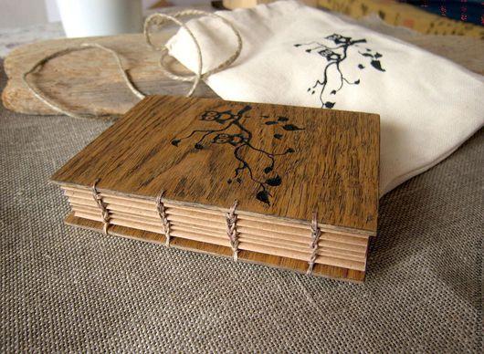 """Блокноты ручной работы. Ярмарка Мастеров - ручная работа. Купить Блокнот из дерева """"совы на ветке"""" (гравировка). Handmade. Блокнот, дерево"""