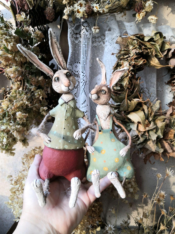 Кролик с морковками. Папье-маше, Пасхальные сувениры, Кинешма,  Фото №1