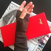 Аксессуары ручной работы. Ярмарка Мастеров - ручная работа Митенки рукава эластичные вязаные коричневые тонкие. Handmade.