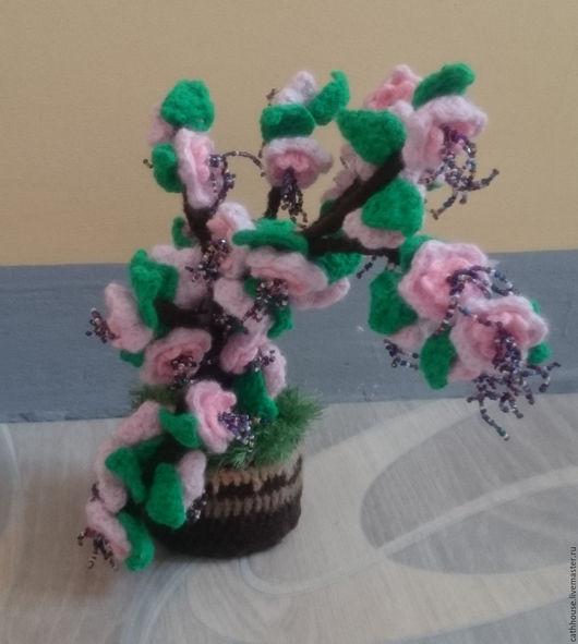 Цветы ручной работы. Ярмарка Мастеров - ручная работа. Купить Сакура вязанная крючком с бисером. Handmade. Комбинированный, ручная работа