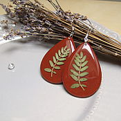 Украшения handmade. Livemaster - original item Wooden Drop Earrings with Real Leaves Terracotta Eco Boho. Handmade.