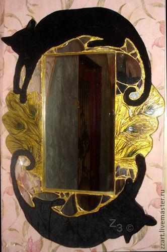 Зеркала ручной работы. Ярмарка Мастеров - ручная работа. Купить Зеркало от плохих примет. Handmade. Кошка, приметы, защита