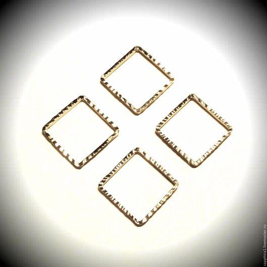Для украшений ручной работы. Ярмарка Мастеров - ручная работа. Купить Коннектор квадрат позолоченный. Handmade. Золотой, коннектор для серег