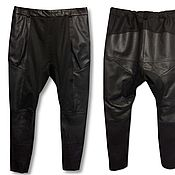 Одежда handmade. Livemaster - original item Leather trousers with a mottle combined. Handmade.