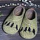 """Обувь ручной работы. Ярмарка Мастеров - ручная работа. Купить Тапочки """"Птицы летите, летите..."""". Handmade. Оливковый"""