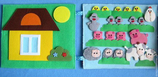 Развивающие игрушки ручной работы. Ярмарка Мастеров - ручная работа. Купить Книжка-расскладушка « В деревне». Handmade.