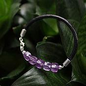 Украшения handmade. Livemaster - original item Leather bracelet with amethyst. Handmade.