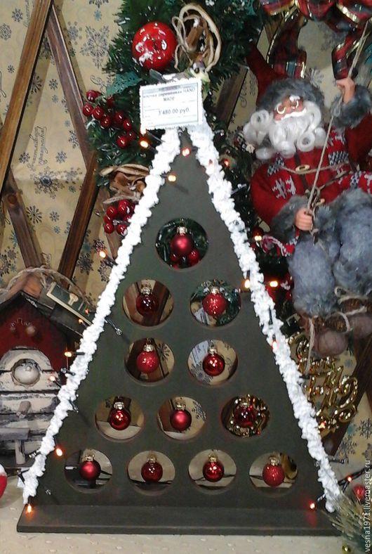 Новый год 2017 ручной работы. Ярмарка Мастеров - ручная работа. Купить елочка деревянная новогодняя. Handmade. Тёмно-зелёный, снег
