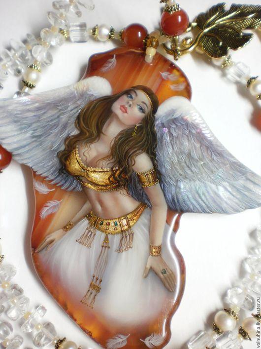 """Кулоны, подвески ручной работы. Ярмарка Мастеров - ручная работа. Купить Колье""""Ангел твой"""". Handmade. Лаковая миниатюра, подарок, фурнитура"""