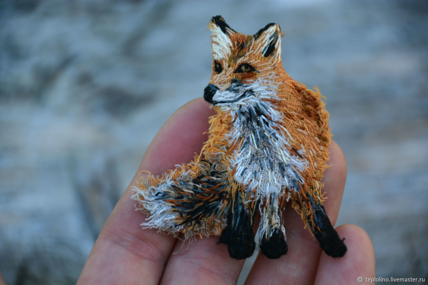 Textile boho brooch Fox, Brooches, Pskov,  Фото №1