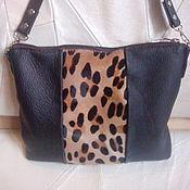 Кожаная сумочка с мехом Дикая кошка