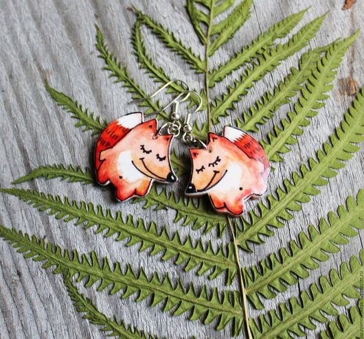 Серьги ручной работы. Ярмарка Мастеров - ручная работа. Купить Серьги Весёлые лисички. Handmade. Рыжий, оранжевый, украшение с лисой
