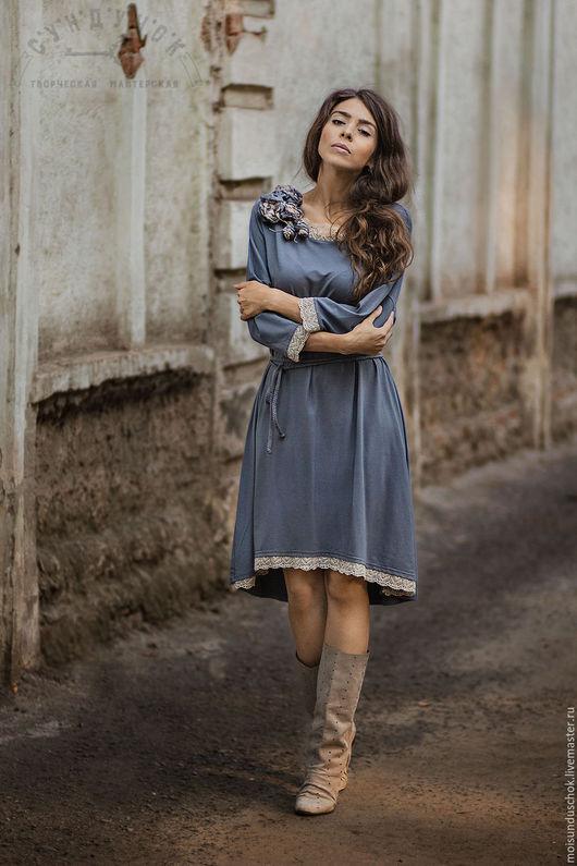 """Платья ручной работы. Ярмарка Мастеров - ручная работа. Купить Комплект с платьем"""" Голубая долина"""". Handmade. Однотонный, сундучок"""