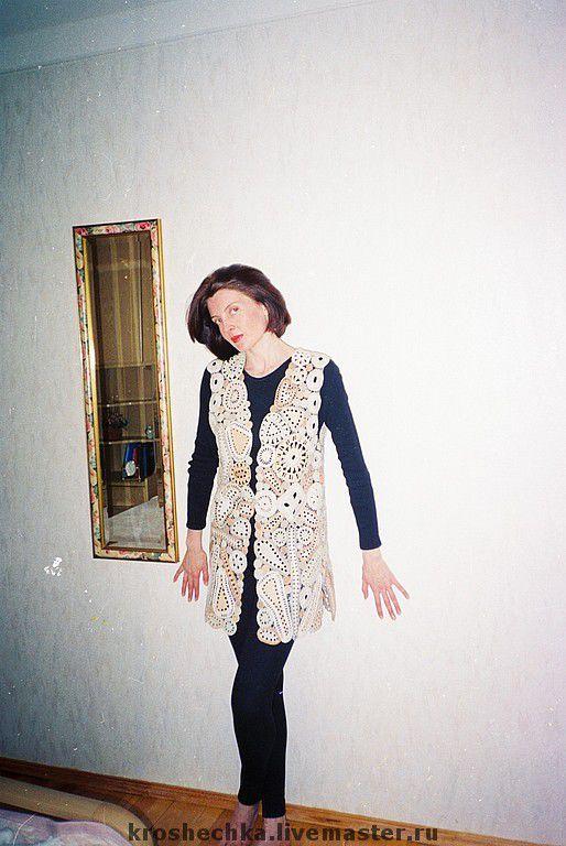 Vests handmade. Livemaster - handmade. Buy Knitted linen vest 'Pastel'.Vest, vests, summer, stylish, handmade lace, crochet