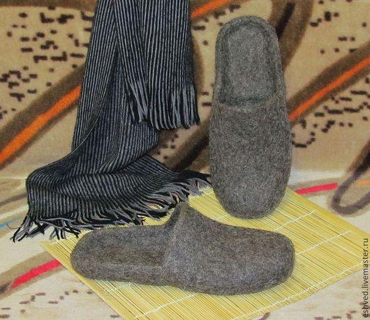"""Обувь ручной работы. Ярмарка Мастеров - ручная работа. Купить Мужские тапочки """"Аскет"""". Handmade. Серый, подарок мужчине"""
