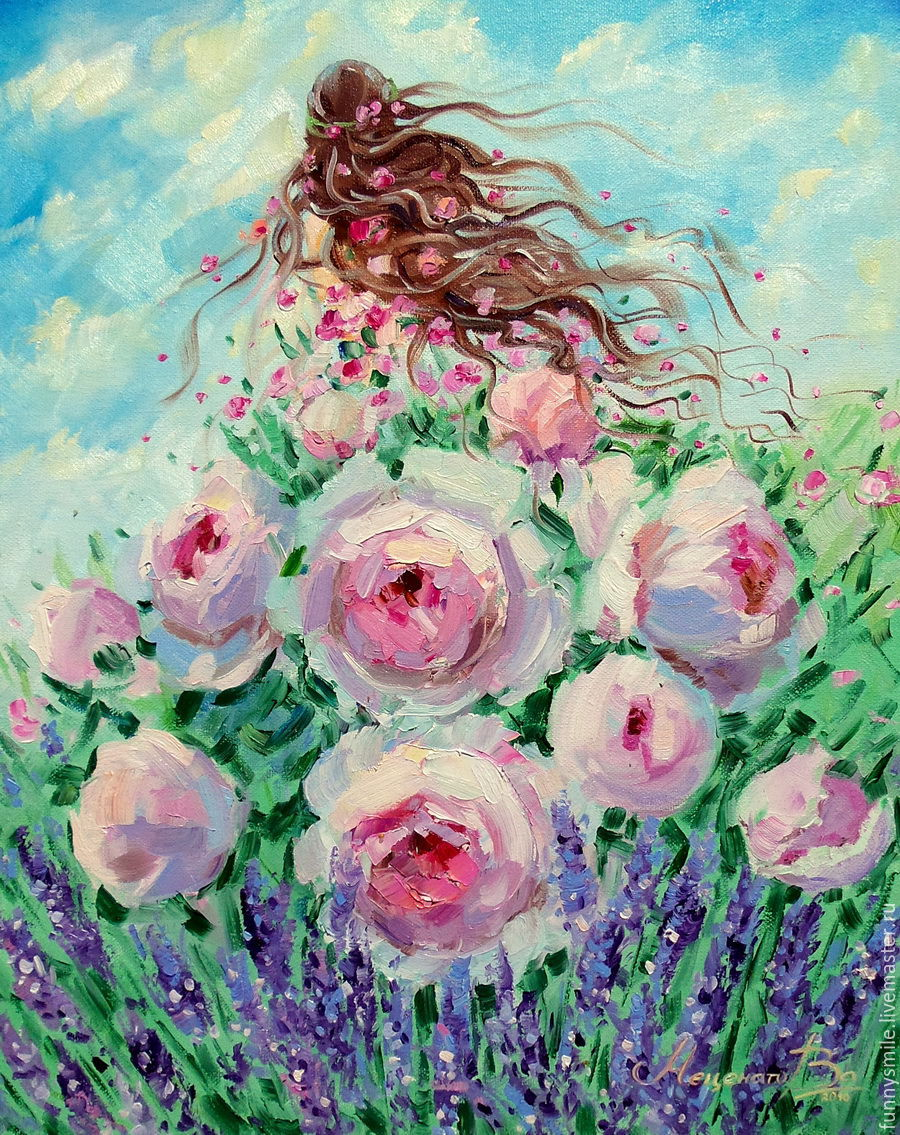 Oil Painting On Canvas Beautiful Summer Roses Lavender Shop