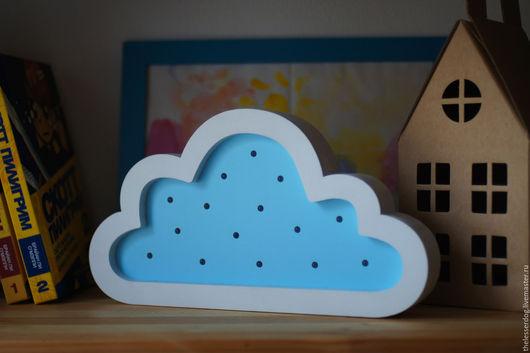 """Освещение ручной работы. Ярмарка Мастеров - ручная работа. Купить Ночник из дерева """"Облако"""". Handmade. Голубой, ночник, usb, светодиоды"""