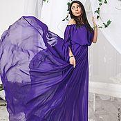 Одежда ручной работы. Ярмарка Мастеров - ручная работа Платье в пол из фиолетового шифона. Handmade.