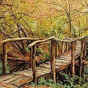 Картины и панно ручной работы. Ярмарка Мастеров - ручная работа Деревянный мост в осень. Handmade.