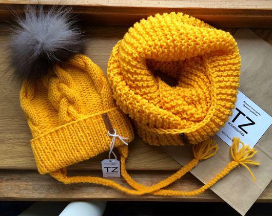 Шапки и шарфы ручной работы. Ярмарка Мастеров - ручная работа. Купить Вязаный комплект. Handmade. Шапка