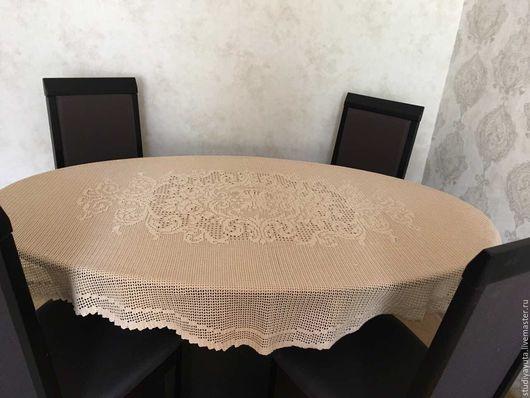 """Текстиль, ковры ручной работы. Ярмарка Мастеров - ручная работа. Купить Скатерть овальная """"Версаль"""". Handmade. Бежевый, подарок женщине"""