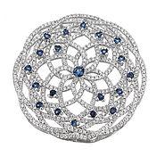 Коннектор Цветок ажурный синий крупный серебро (Milano)