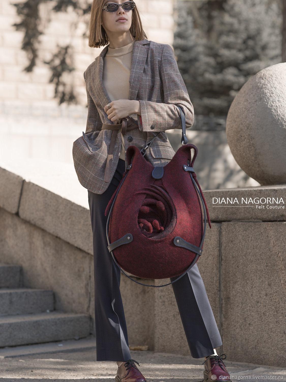 Set of fittings for a felt handbag 'Drop'(BLUE), Felting handmade, Kharkiv, Фото №1