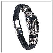 Украшения handmade. Livemaster - original item Skull bracelet men`s leather no 3 accessories steel 316L. Handmade.