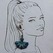 Украшения handmade. Livemaster - original item Cornflowers - long stud Earrings. Handmade.