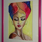 Картины и панно handmade. Livemaster - original item Watercolor painting. Princess Of Africa. Handmade.