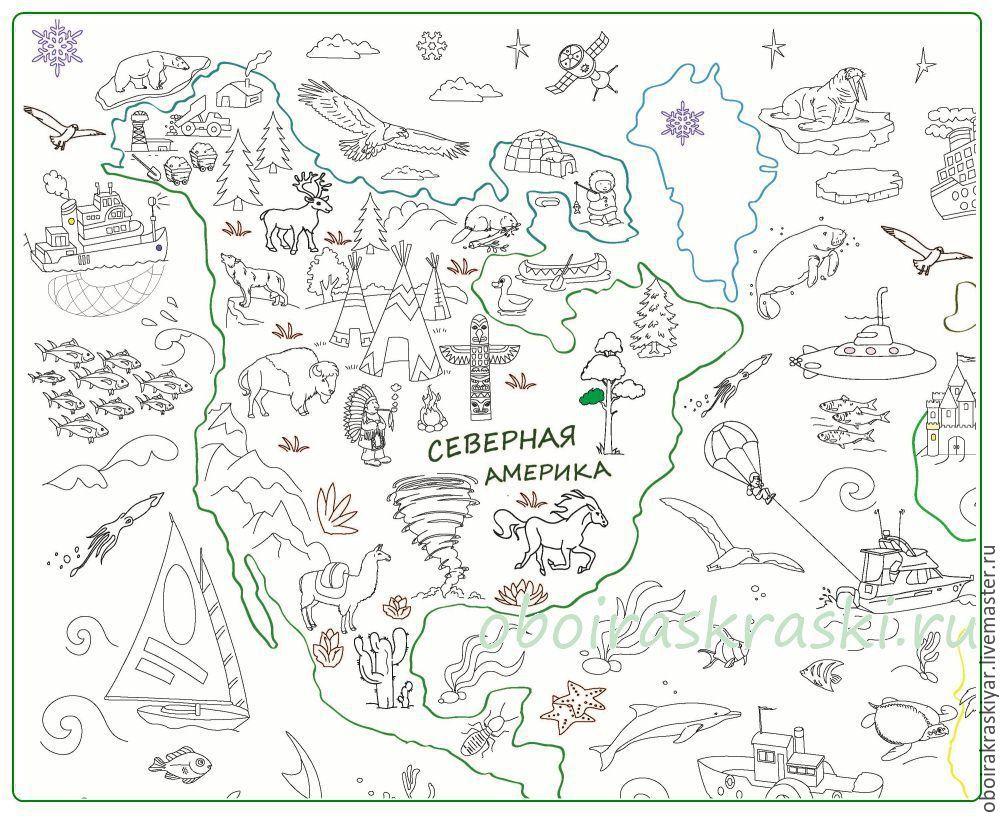 плакат раскраска карта мира новинка