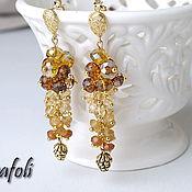 Украшения handmade. Livemaster - original item Long earrings with stones with Golden pine cones. Handmade.