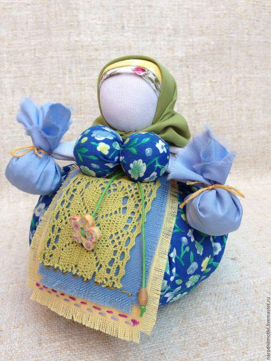 Народные куклы ручной работы, Купить куклу-оберег Кубышка-травница, обережные куклы, оберег на здоровье, оберег на благополучие, голубой, синий, зеленый, желтый