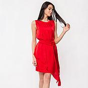 Одежда ручной работы. Ярмарка Мастеров - ручная работа Красное ассиметричное платье из атласного полотна (арт. 2273). Handmade.