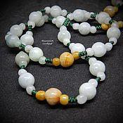 Работы для детей, handmade. Livemaster - original item Beads of jade 60 cm Solar mint. Handmade.