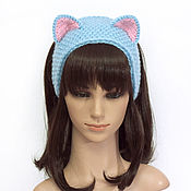 Аксессуары handmade. Livemaster - original item Headband with Cat ears knitted hair Blue. Handmade.