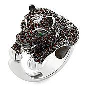 Украшения ручной работы. Ярмарка Мастеров - ручная работа Серебряное кольцо кошка с фианитами. Handmade.