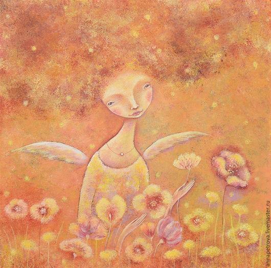 """Фантазийные сюжеты ручной работы. Ярмарка Мастеров - ручная работа. Купить """"Ангел Осень"""" Картина-настроение. Холст, акрил.. Handmade."""