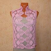 Одежда ручной работы. Ярмарка Мастеров - ручная работа топ крючком ажурный розовый с широкой каймой. Handmade.