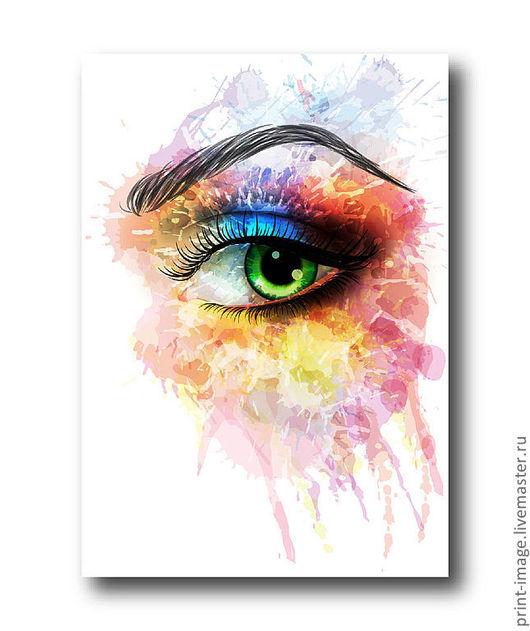 Абстракция ручной работы. Ярмарка Мастеров - ручная работа. Купить Радужный взгляд. Handmade. Женщина, брызги, краска, радуга, цвет