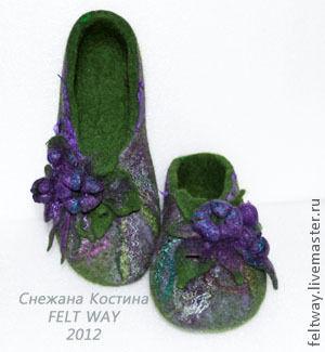 """Обувь ручной работы. Ярмарка Мастеров - ручная работа. Купить Тапки из войлока """"Нарядные и повседневные"""". Handmade. Тёмно-зелёный, подарок"""