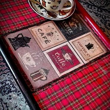 """Для дома и интерьера ручной работы. Ярмарка Мастеров - ручная работа Столик-поднос """"Кофе в постель"""". Handmade."""