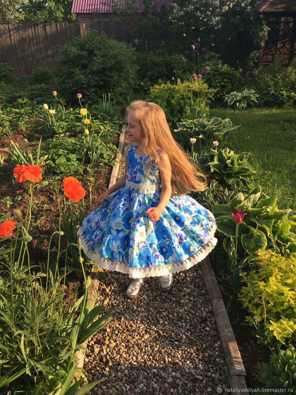American cotton dress ' Blooming petunias', Dresses, Ivanovo,  Фото №1