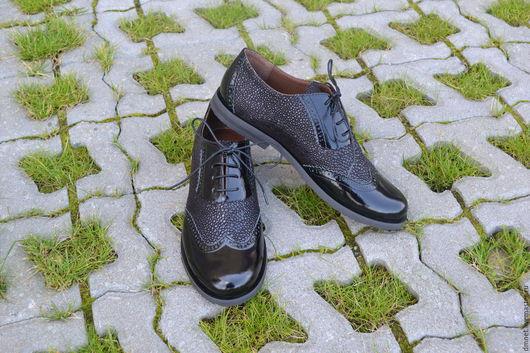 Обувь ручной работы. Ярмарка Мастеров - ручная работа. Купить Оксфорд женский комбинированный. Handmade. Черный, удобная обувь
