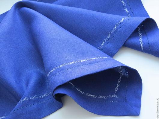 Текстиль, ковры ручной работы. Ярмарка Мастеров - ручная работа. Купить Столешница льняная с мережкой. Handmade. Тёмно-синий