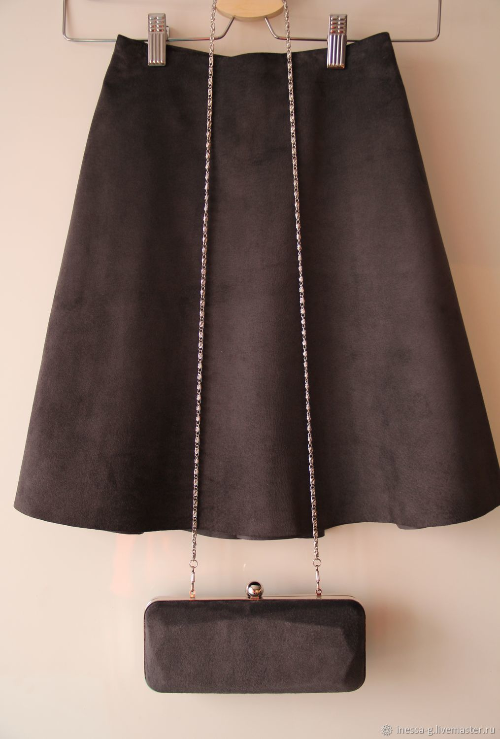 Suede skirt the color of dark chocolate, Skirts, Moscow,  Фото №1