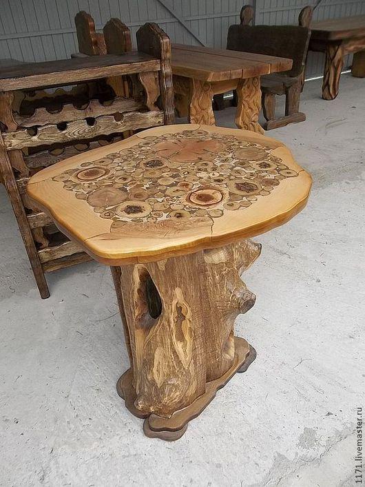 Мебель ручной работы. Ярмарка Мастеров - ручная работа. Купить стол со спилами круглый. Handmade. Желтый, можжевельник