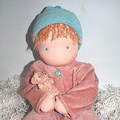"""Куклы и игрушки ручной работы. Ярмарка Мастеров - ручная работа """"Голубчик и мишутка"""" вальдорфский младенец 48-50 см. Handmade."""