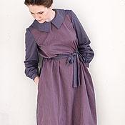 Одежда ручной работы. Ярмарка Мастеров - ручная работа Сине-розовое хлопковое платье с длинным рукавом, в клетку и полоску. Handmade.